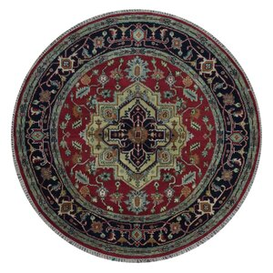 Forest City Serapi Hand-Woven Wool Black/Gold/Red Area Rug