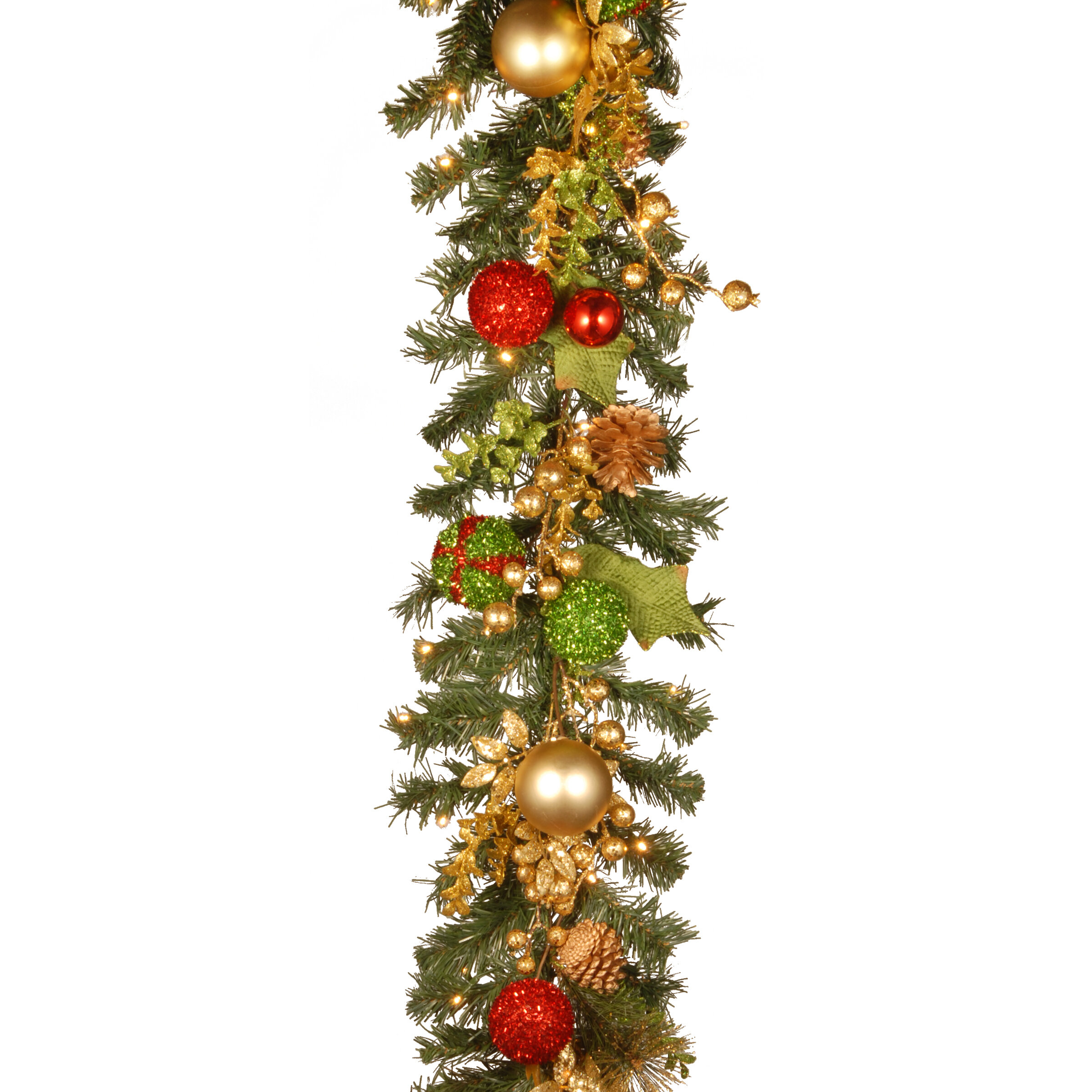 the holiday aisle decorated christmas garland with battery operated led lights reviews wayfair