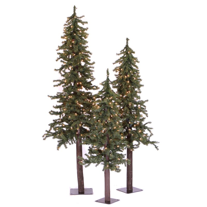 natural alpine green artificial christmas tree with 185 clear lights - Artificial Christmas Trees With Lights