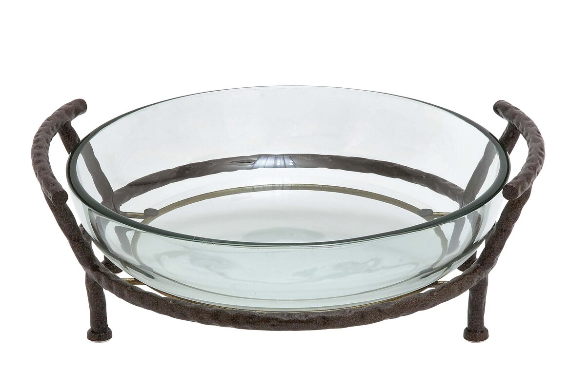 Glass Bowl with Metal Stand