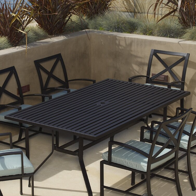 Sunset West La Jolla Rectangular Dining Table Wayfair - Rectangular metal patio dining table
