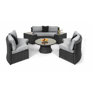 Half Moon 6 Seater Rattan Effect Sofa Set