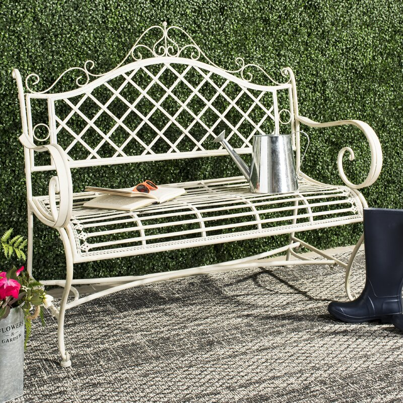 Hornellsville Wrought Iron Garden Bench Reviews Wayfair
