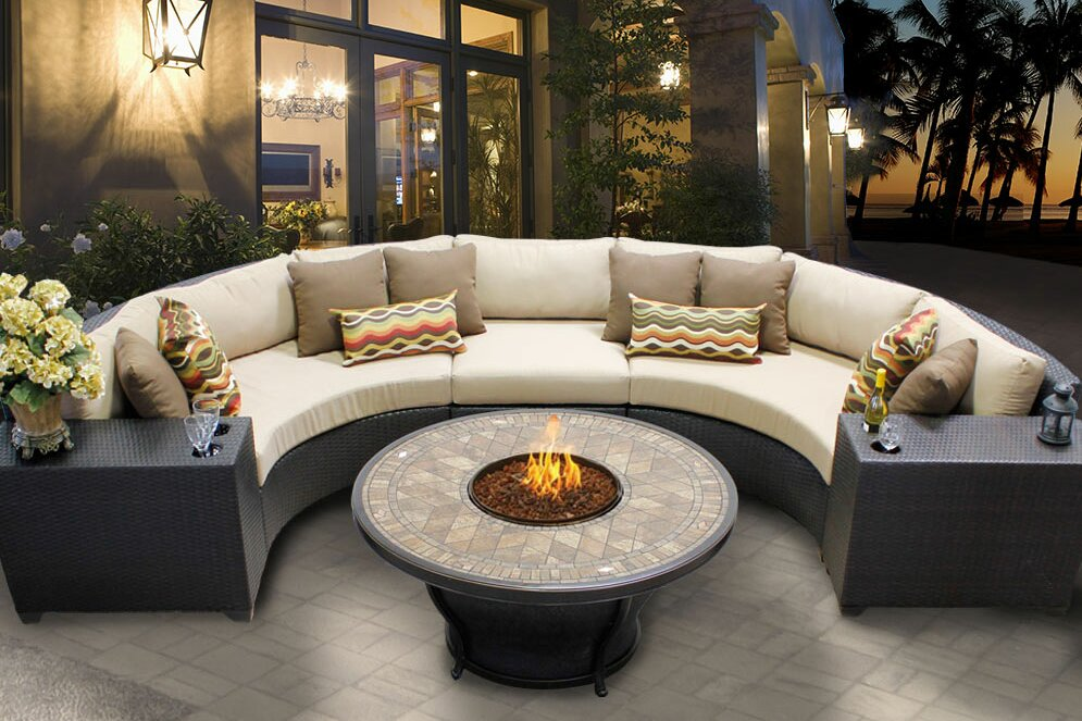 Barbados 6 Piece Fire Pit Seating Group with Cushion. TK Classics Barbados 6 Piece Fire Pit Seating Group with Cushion