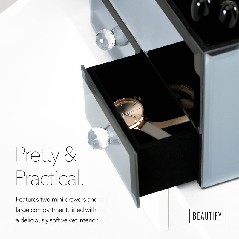 Beautify Small Mirrored Glass Jewelry Box Reviews Wayfair