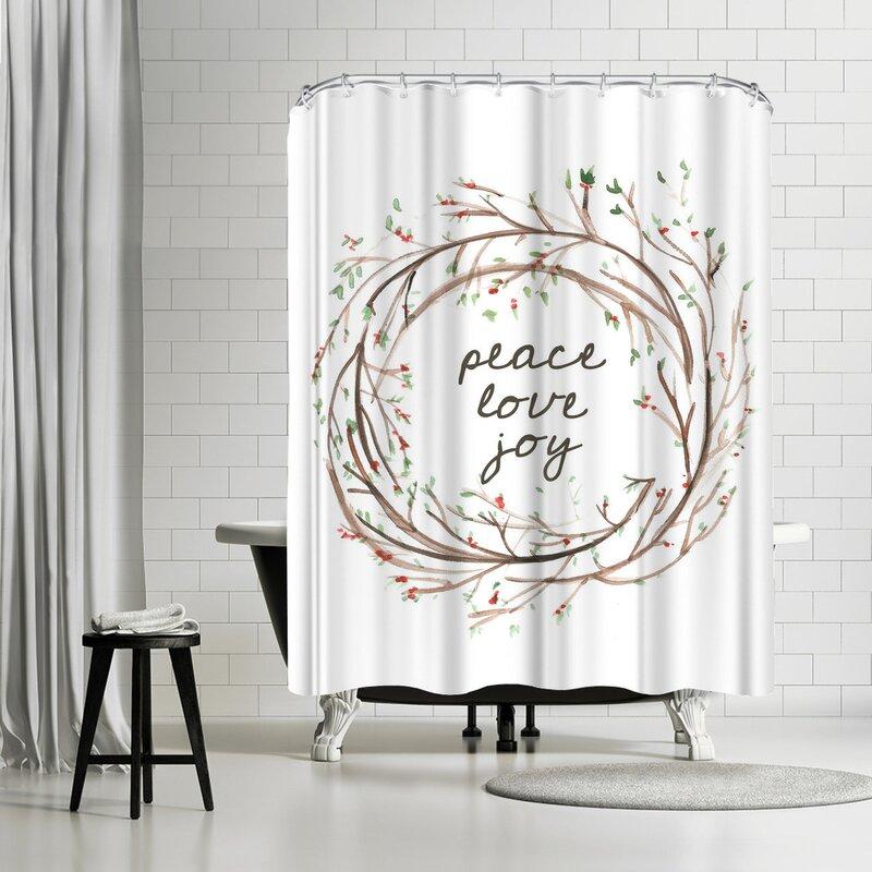 Jetty Printables Peace Love Joy Wreath Single Shower Curtain
