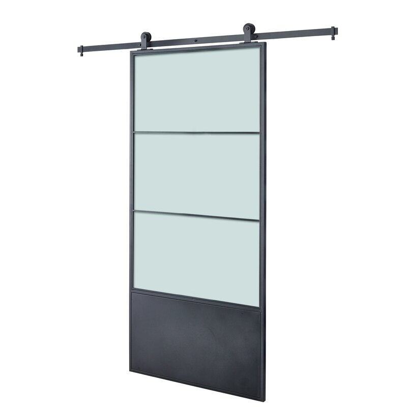 Frosted Glass/Paneled Metal And Glass Concorde Barn Door With Installation  Hardware Kit