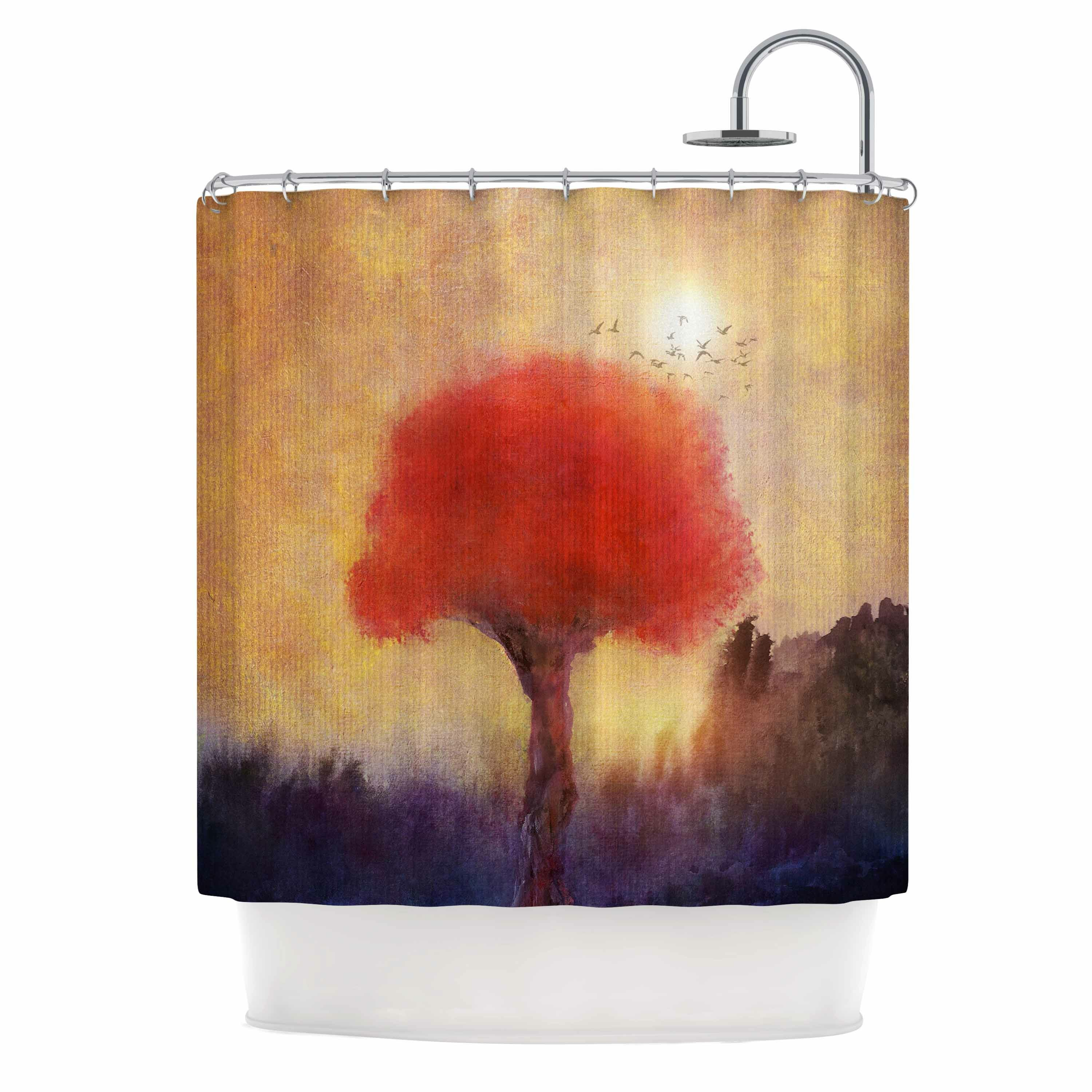 East Urban Home Red Tree Shower Curtain