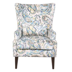 Godfrey Paisley Wingback Chair by Darby Home Co