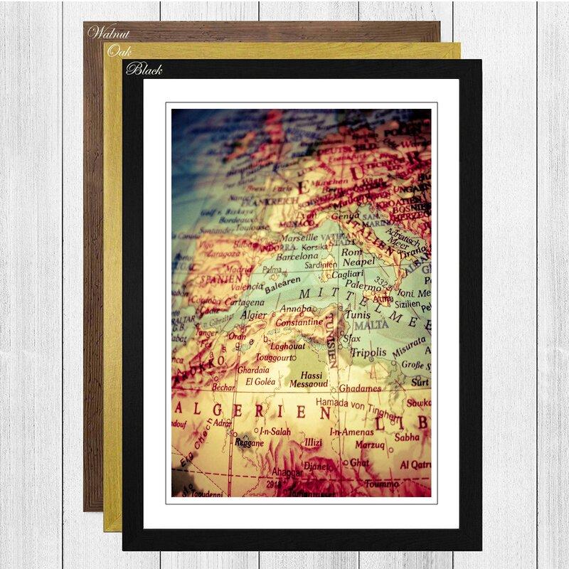 Big Box Art \'Globe World Map 1\' Framed Wall Art | Wayfair.co.uk