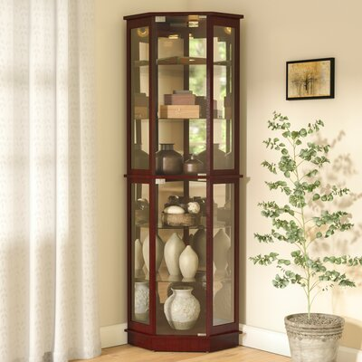 Biali Lighted Corner Curio Cabinet Andover Mills Color: Cherry