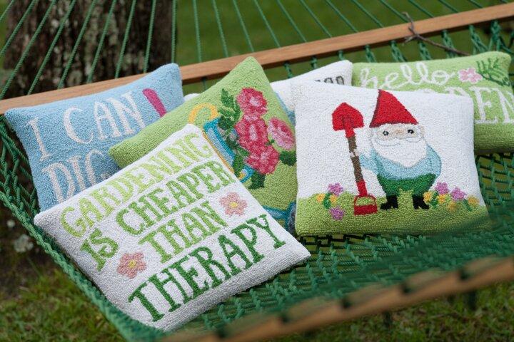 Peking Handicraft Garden Gnome Hook 100% Wool Throw Pillow | Wayfair
