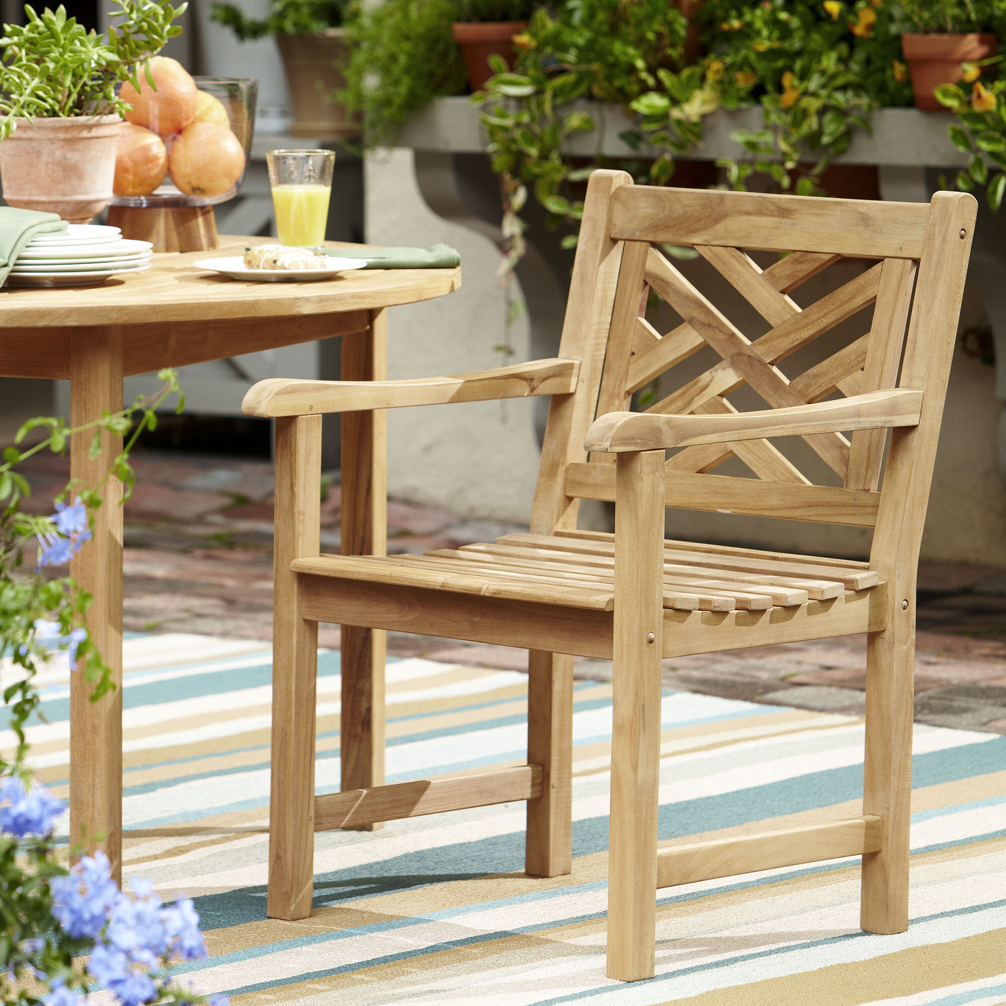 Birch Lane Heritage Summerton Lattice Back Teak Patio Dining Chair