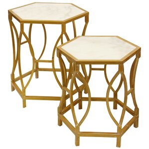 Maynard Hexagonal Shaped 2 Piece Nesting Tables by Everly Quinn