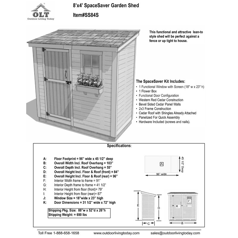 SpaceSaver 8 5 ft  W x 4 5 ft  D Solid Wood Lean-To Storage Shed