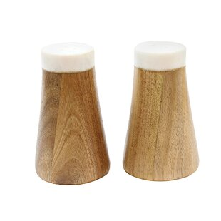Elements 2 Piece Marble Acacia Salt Pepper Shaker Set