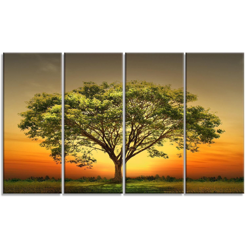 DesignArt \'Green Tree against Setting Sun\' 4 Piece Graphic Art on ...