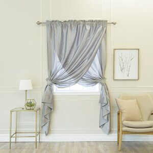 Olivia Overlap Solid Semi-Sheer Rod Pocket Single Curtain Panel