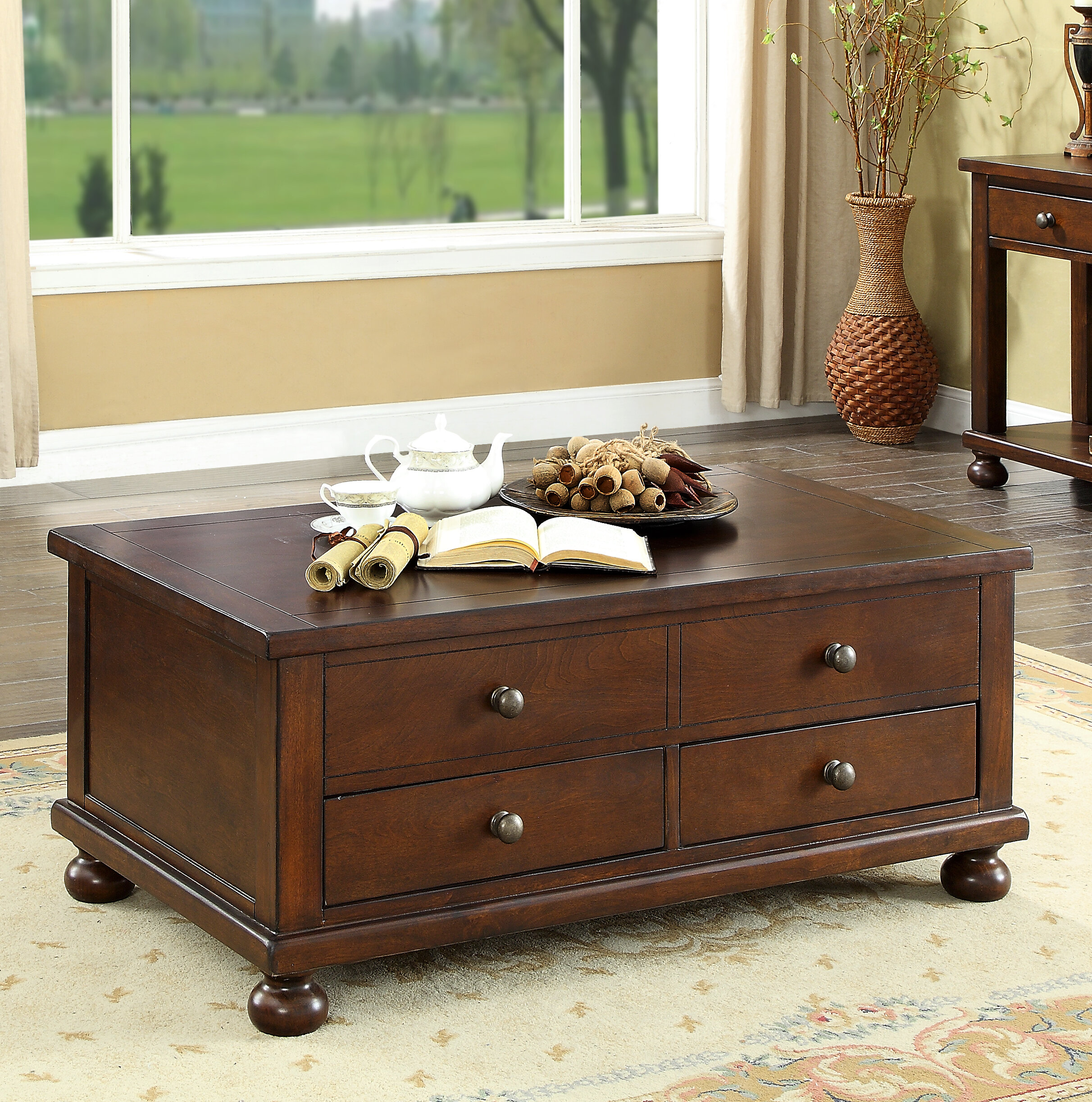 with detail elegant design of drawers simple ideas coffee drawer walnut table best gallery