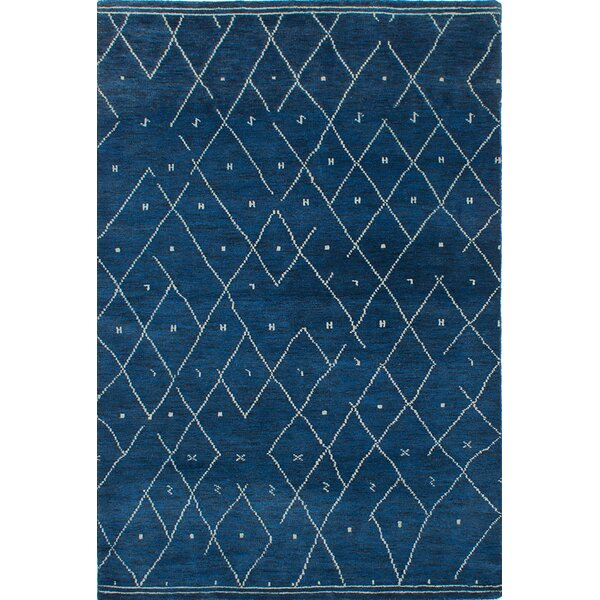 Brayden Studio Talley Hand Knotted Dark Blue Area Rug | Wayfair