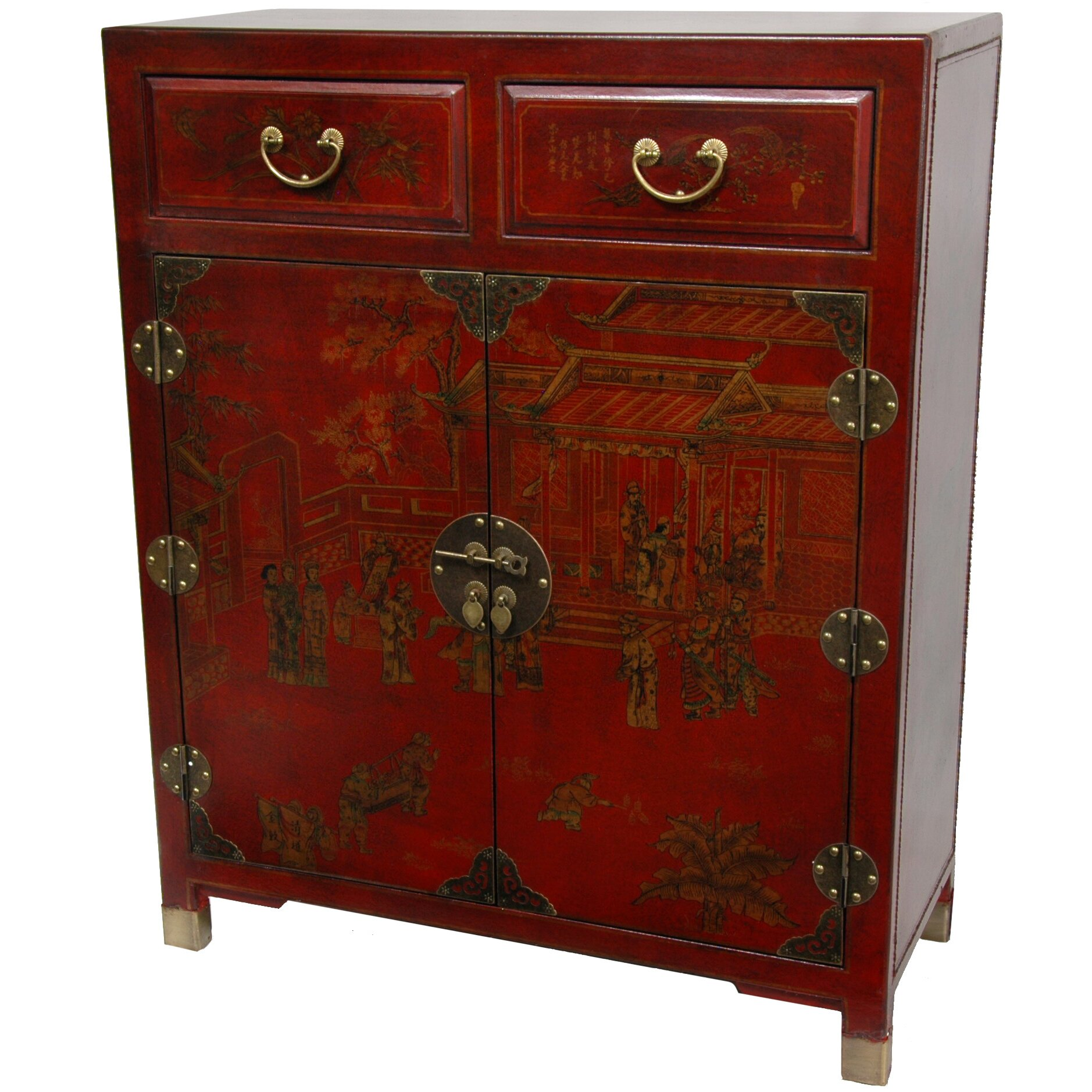 oriental furniture lacquer 2 drawer chest reviews wayfair. Black Bedroom Furniture Sets. Home Design Ideas