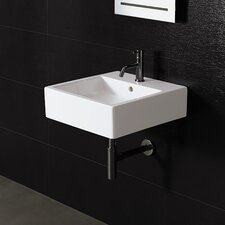 Area Boutique Ice Large Square Ceramic 18 Wall Mounted Bathroom Sink With Overflow