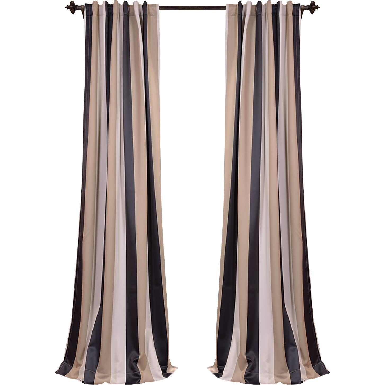 Half Price Drapes Georgetown Striped Blackout Thermal Rod