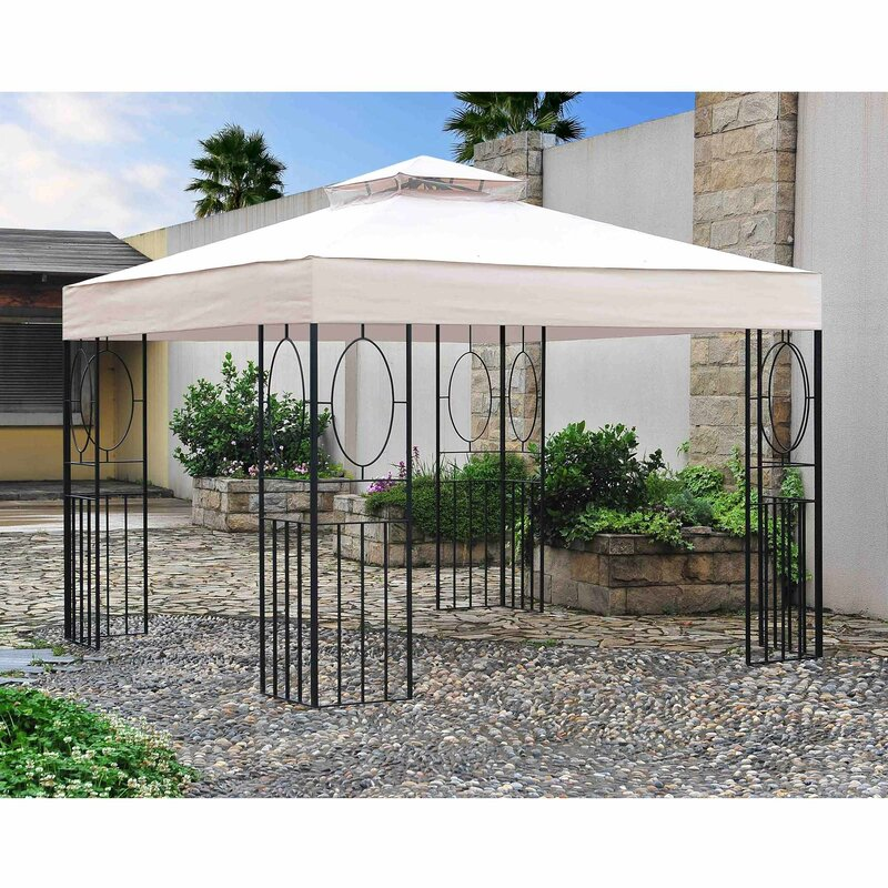 Steel Portable Gazebo : Sunjoy breeze ft w d metal portable gazebo