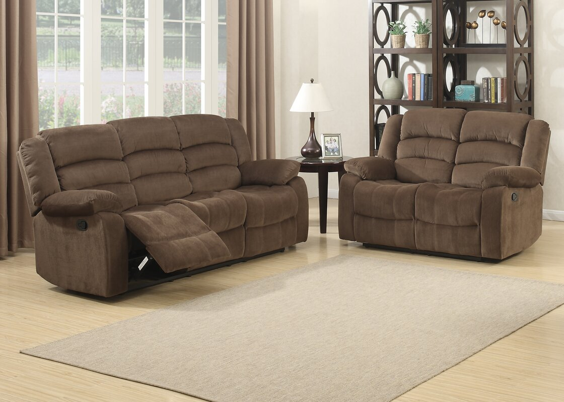 Ac Pacific Bill Reclining Living Room Sofa And Loveseat Set Reviews