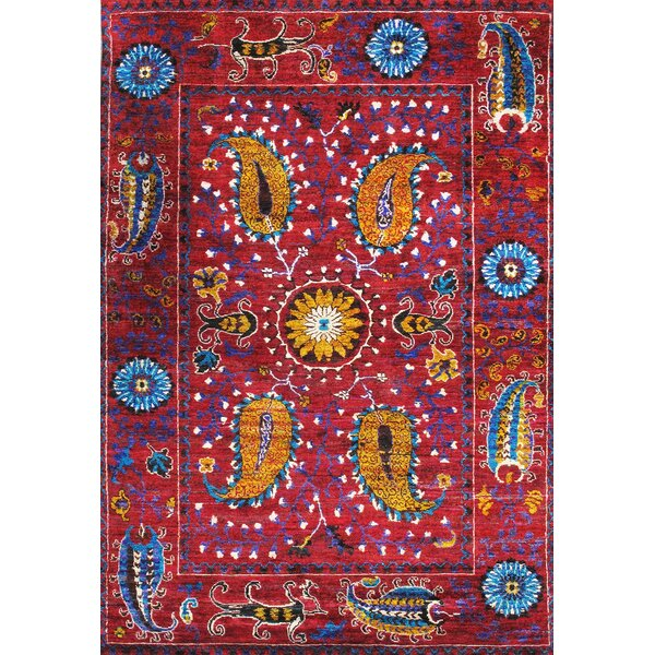 Pasargad Santa Fe Sari Silk Hand Knotted Red Rug | Wayfair