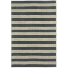Palm Cove Cinders Black/Beige Striped Outdoor Area Rug