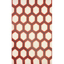 Gunter Hand-Woven Red/White Area Rug
