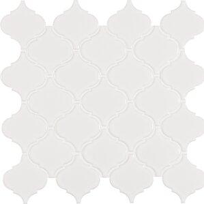 arabesque porcelain mosaic tile in white