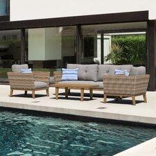 Torcello Aluminum 4 Piece Rattan Sofa Set with Cushions