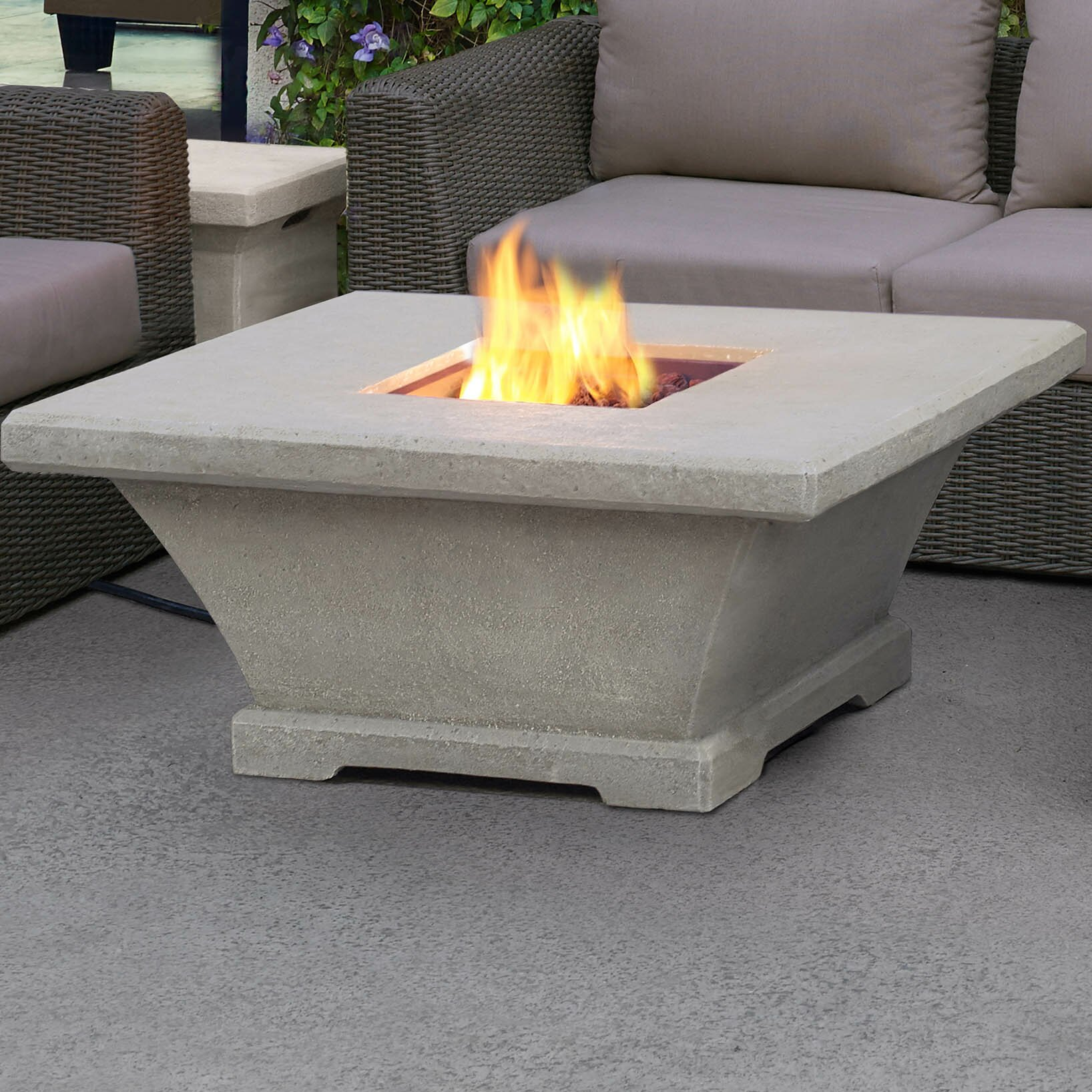 Real Flame Monaco Square Low Profile Propane Fire Pit Table Wayfair