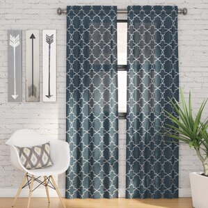 Backstrom Geometric Semi Sheer Rod Pocket Curtain Panels (Set Of 2)