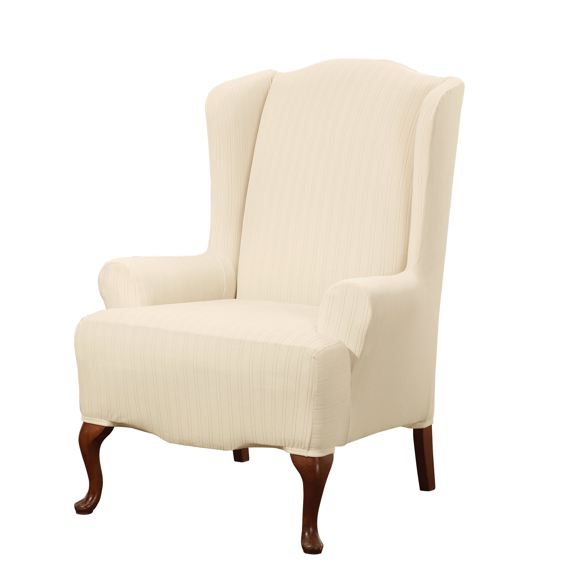 Sure Fit Stretch Pinstripe Wing Chair Slipcover Amp Reviews