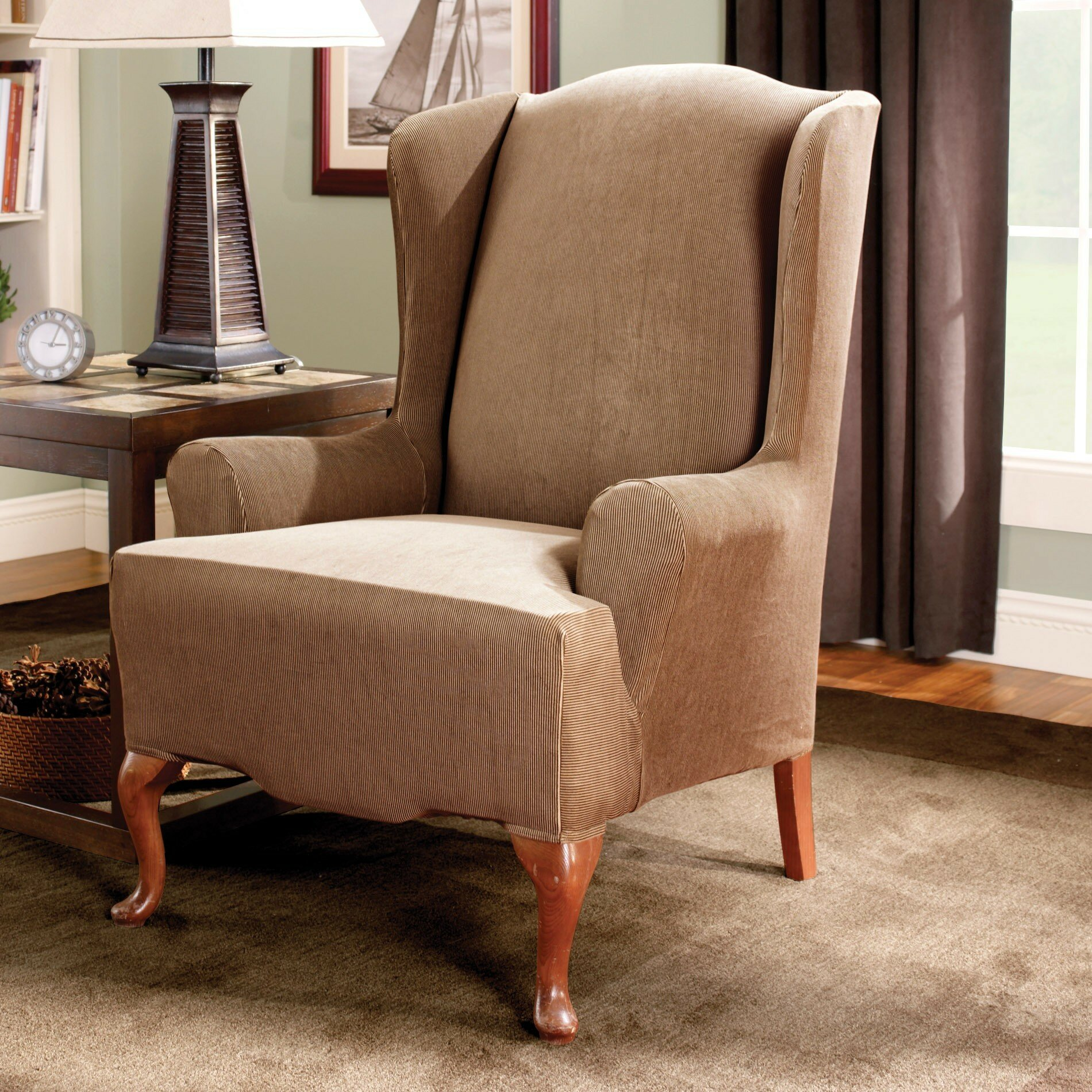 Sure Fit Stretch Stripe Wingback Chair T Cushion Slipcover