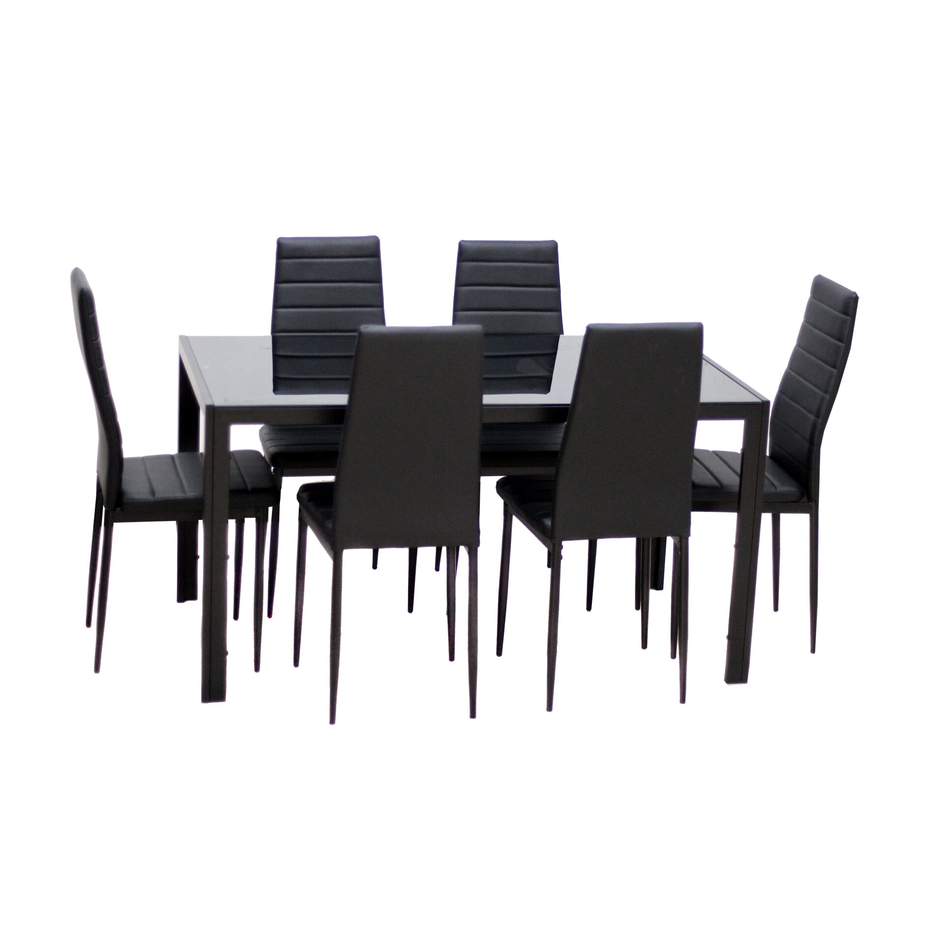 Dining Table Set Modern: IDSOnlineCorp Modern Glass 7 Piece Dining Table Set