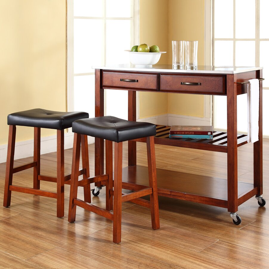 Kitchen Set Island: Kitchen Island Set With Stainless Steel Top & Reviews