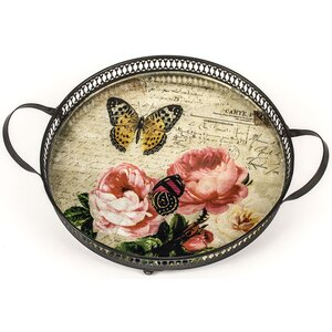 Butterflies and Roses Round Handled Metal Tray