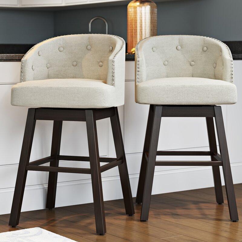 "alcott hill farmington 29"" swivel bar stool with cushion"