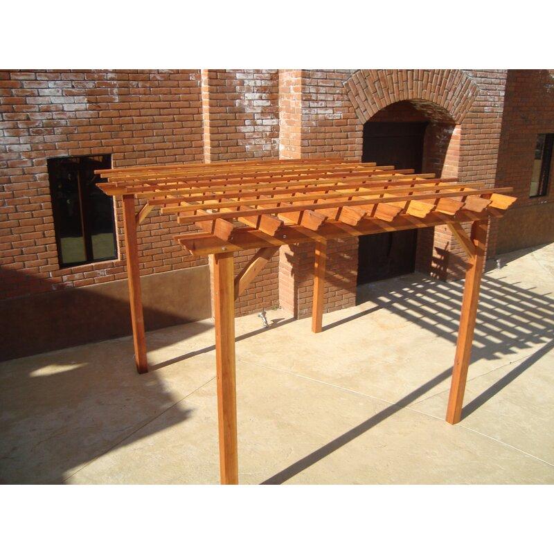 Best Redwood 10 Ft. W Solid Wood Pergola  Finish: Super Deck, Size: 10 H x 10 W x 10 D