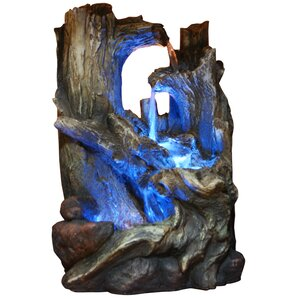 Fiberglass/Polystone Tree Trunks Waterfall Fountain With LED Light