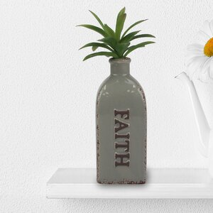 Worn Smoke Rectangular Ceramic Faith Table Vase