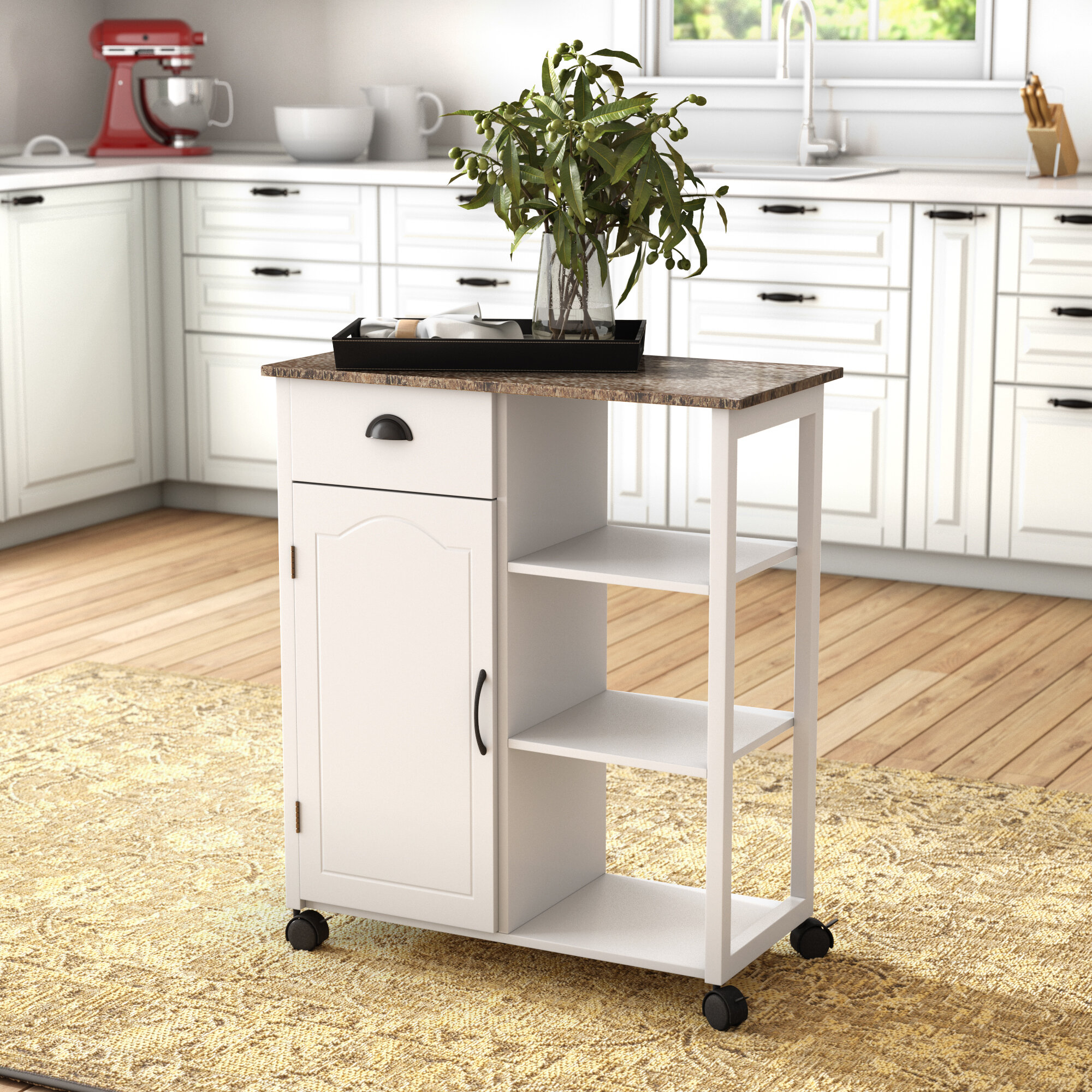 Queens Kitchen Cart with Marble Top