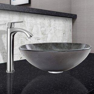 Save Vigo Gray Onyx Gl Circular Vessel Bathroom Sink With Faucet