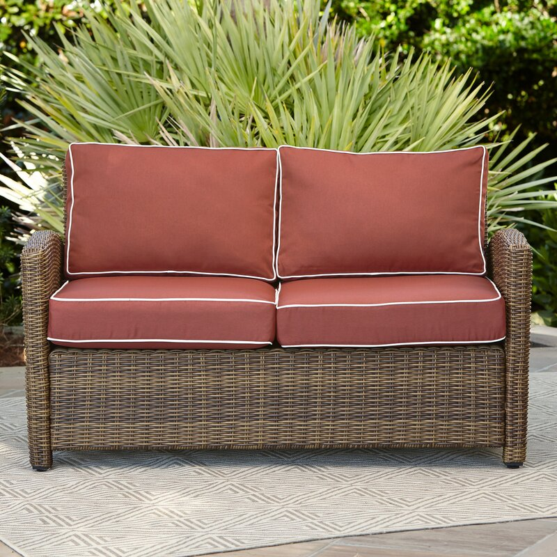 Birch Lane Heritage Lawson Wicker Loveseat With Cushions Reviews