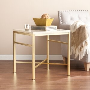 Lourdes Faux Stone End Table in Travertine