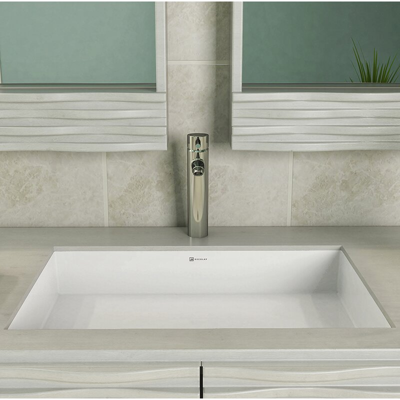 Saidi Solid Surface NULL Rectangular Undermount Bathroom Sink With Overflow